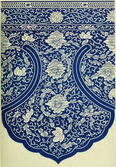 Jones, Owen: Examples of Chinese ornament selected from objects in the South Kensington museum and other collections 1867. Plate VI.  Part of a pendant Ornament round the top of a  magnificent blue-and-white china cistern. In the  upper border the lines run in one direction round  the bowl. In the lower, one continuous main stem  runs through the general forms, embracing all the  flowers, which are geometrically arranged. The  broad blue line which forms the boundary of the  composition is a...