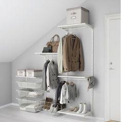 IKEA - ALGOT, Wall upright/shelves/rod - understairs storage to keep coats and shoes tidied. Ikea Algot, Stair Storage, Closet Storage, Bedroom Storage, Wall Storage, Upstairs Bedroom, Ikea Bedroom, Ikea Dressing Room, Lineup