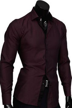 b20efa32a1f Бордовая приталенная мужская рубашка купить недорого в интернет магазине