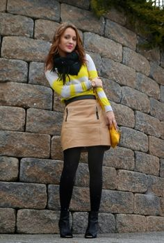 Neon sweater + leather skirt #lovemyannie
