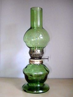 Miniature Oil Lamp Green Glass Vintage  8.25 inches