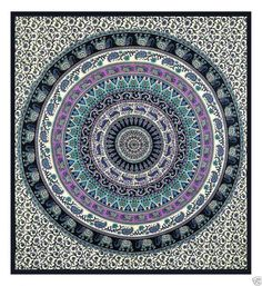 Elephant Mandala Tapestry Dorm Room Decor Wall by MandalaTapestrys