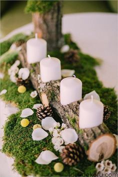 wedding winter wedding decorations candlestick from a wooden branch with white candles surrounded by pine cones on a green moss muse books via Christmas Wedding Centerpieces, Winter Wedding Decorations, Rustic Centerpieces, Christmas Decorations, Table Decorations, Centerpiece Ideas, Moss Wedding Decor, Moss Centerpiece Wedding, Moss Decor