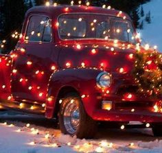 Nelly in all her holiday glory! - (old red truck, Christmas lights) Christmas Truck, Noel Christmas, Merry Little Christmas, Country Christmas, All Things Christmas, Winter Christmas, Christmas Crafts, Christmas Decorations, Red Christmas Lights