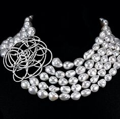 Arielle's Extravaganza necklace in white gold set with: 133 Keshi and Barocco Pearls 2292.20 Cts, 25 Rose-cut Diamonds 1.53 Ct, 138 Diamonds 1.31 Ct
