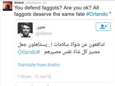 Thanks to the good work of Twitter user @ahmedaa1k, you are able to see what was being said in Arabic by many MODERATE Muslims in response to the Orlando shooting. Please keep in mind, Ahmed is the individual who translated from Arabic to English !!