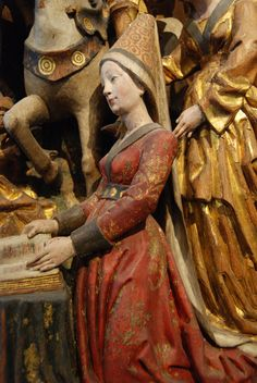 "Detail from an altarpiece from ""Musées Royaux d'Art et d'Histoire"" in Brussels, Belgium,unknown date probably century Medieval Hats, Medieval World, Medieval Costume, Medieval Dress, Medieval Clothing, 15th Century Fashion, 15th Century Clothing, Early Middle Ages, Renaissance Fashion"