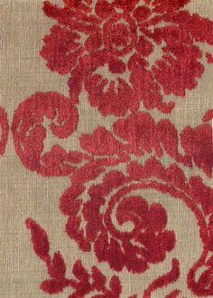 Ombrione Fabric Raised leaf design red velvet on natural cloth