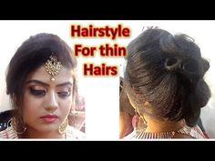 DIY - hairstyle for thin hairs with maang tikka setting front puff without backcombing Messy Bun Hairstyles, Diy Hairstyles, Tikka Hairstyle, Bun Maker, Mehndi, Updos, Party Wear, Earring Set, Henna
