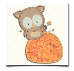 This free embroidery design is an owl and a pumpkin.