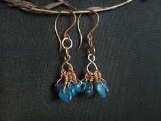 Kyanite Earrings. Rustic Aqua Blue kyanite nugets by MADAMBLUEONE, $20.00