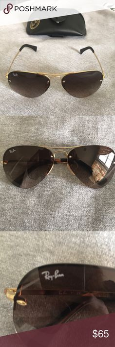Ray Ban Aviator Sunglasses Great Ray Ban Aviator Sunglasses 🕶. I've only worn these a handful of times. No scratches. Comes with Ray Ban branded case and cleaning cloth. Prefect for those summer days! Ray-Ban Accessories Sunglasses