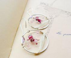 Purple butterfly earrings, spring earrings, pastel jewelry, round earrings, wire earrings, resin jewelry