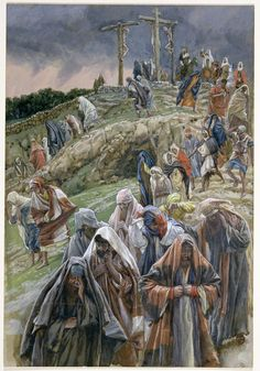 The People, Beholding the Things that were Done Smote Their Breasts by James Tissot {c.1886-94} ~ Jesus