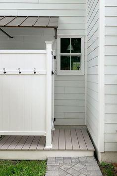 The Duplex Backyards - Patios, Sheds, & Outdoor Showers Galore! Outdoor Pool Shower, Outdoor Shower Fixtures, Portable Outdoor Shower, Outdoor Shower Enclosure, Outdoor Bathrooms, Outdoor Bars, Outdoor Kitchens, Outdoor Rooms, Outdoor Toilet