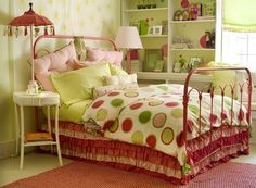 girls room - the pinks and greens and white are very nice togethjer