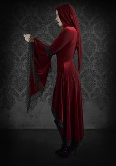 Lucilla Hooded Gothic Gown in Velvet and Lace - Custom Elegant Gothic Clothing and Dark Romantic Couture. $229.00, via Etsy.