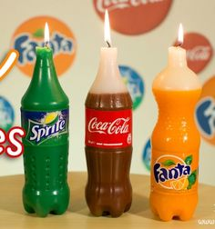 How to make Coca-Cola, Fanta and Sprite candles DIY // Coca Cola, Fanta és Sprite gyertya (gyertyaöntés) - vicces ajándék // Mindy - craft tutorial collection