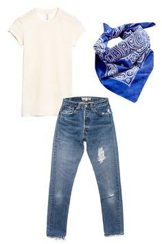 Urban Renewal Well Worn Vinatge Bandana, $6; urbanoutfitters.com Redone High Rise Jeans, $261; shopredone.com & Other Stories Sheer Wool T-Shirt, $39; stories.com