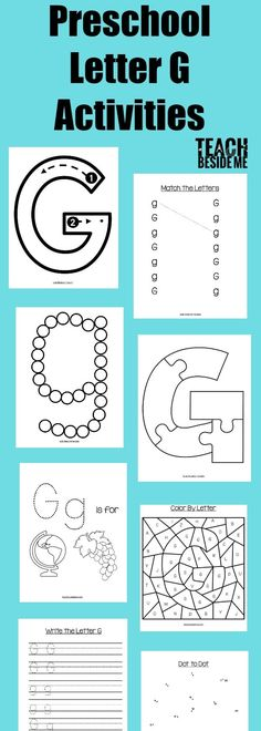 Preschool letter of the week- this post is full of preschool letter g activities! Including a book list, craft, snack idea, and printable activity pack. Daycare Curriculum, Preschool Letters, Preschool Curriculum, Preschool Worksheets, Kindergarten, Alphabet Letters, Letter G Activities, Letter G Worksheets, Kids Learning Activities