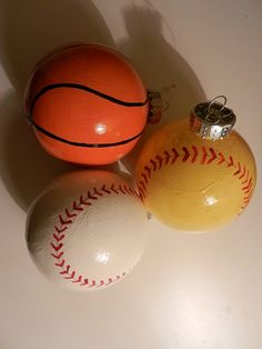 The perfect gift for a sports enthusiast! Hang all three on a multiple ornament stand.
