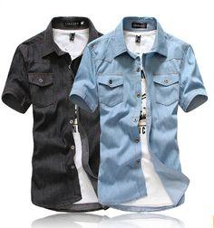 Men's Short Sleeve Denim Shirt with Pockets