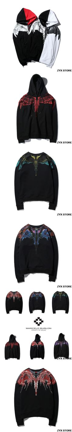 2017 Best Version 1:1 Marcelo Burlon Women Men Hoodies Sweatshirts Hiphop Style Wing Print Marcelo Burlon Men Hoodies Pullover