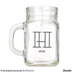 H monogram mason jar