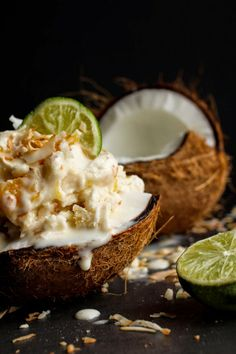 Pina Colada Ice Cream Swirled with Mango