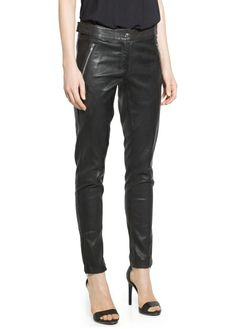 Zip leather trousers - Mango 1.999:-