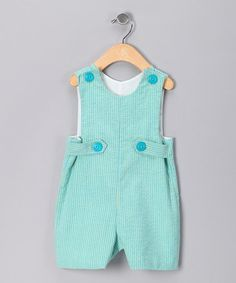 Take a look at this Turquoise Seersucker Shortalls - Infant by SILLY MILLY on #zulily today!