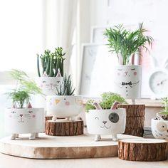 Animal Succulent Pots Cat Planter Pot Dog Animal Planter | Etsy Rustic Planters, Wood Planter Box, Decorative Planters, Ceramic Plant Pots, Ceramic Flower Pots, Flower Planters, Ceramic Vase, Succulent Planters, Kitchen Plants