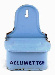Vintage French antique matches holder blue door SmeerlingAntiques