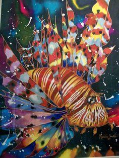 My favourite Lion Fish silk painting