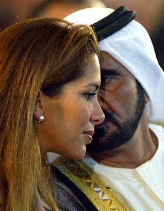 Jordanian Princess Haya bint al-Hussein chats with her husband Sheikh Mohammed bin Rashid al-Maktoum Crown Prince of Dubai