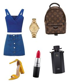 """Untitled #1"" by m-soupioni on Polyvore featuring Miss Selfridge, Steve Madden, Louis Vuitton, Lacoste, MAC Cosmetics and Gucci"