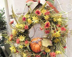 Fall mesh wreath Elegant fall wreath Hydrangeas by ChickadeeLore