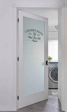 Super cute frosted Laundry Room door!