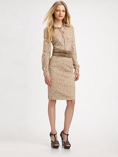 Burberry London  Lace Pencil Skirt, nude; also matching lace blouse