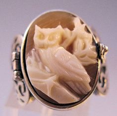 Owl Cameo Poison Ring Locket Sterling by BrightEyesTreasures, $119.00