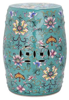 One Kings Lane - Garden Stools - Eva Ceramic Garden Stool, Teal/Multi