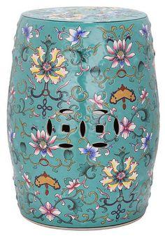 One Kings Lane - Garden Stools - Eva Ceramic Garden Stool, Teal/Multi