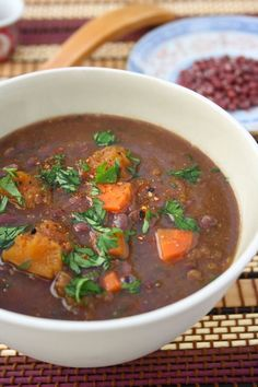 Japanese Pumpkin and Azuki Bean Soup (with white miso and curry pastes - lots of flavor!)