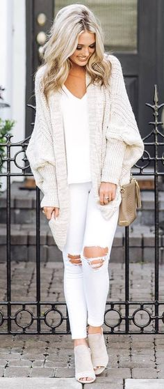 white on white_cardigan + top + rips + bag + boots