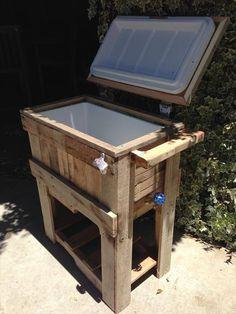 table glacière récup\' palette et ancien frigo | créations mehdi le ...