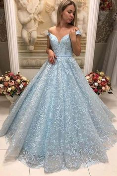da1bce66973 Off The Shoulder Long Light Blue Lace Prom Dresses Princess Dresses Z1856
