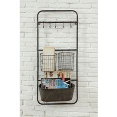 """Who couldn't get organized with this shelf? It would be great in the kitchen for cups and towels or vegetables, or in a bathroom for wash towels and appliances. Imagine the possibilities! Shelf comes with 5 Hooks, 2 Baskets & 1 Bin. Assembly required. Dimensions: 15.75""""""""w x 6.75""""""""d x 36.5""""""""h"""