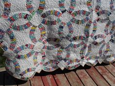 Double Wedding Ring Quilt, Vintage Top, Finished with Modern Machine Quilting