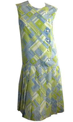 vintage 1960s Geometric Print Soft Lime and by DorotheasCloset