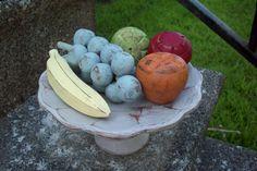 Decorative Wooden Fruit Bowl/ Shabby Fruit table centerpiece/ Colorful Rustic Cottage Chic vintage pedestal bowl/ Whimsical Kitchen Decor by UpcycledCottageDecor on Etsy